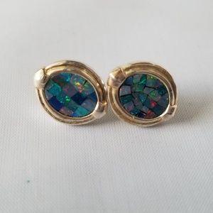 925 Silver Mosaic Opal Stud Earrings